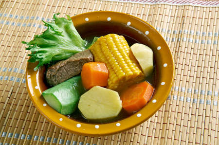 olla: Mole de olla Mexican traditional soup. It is made of xoconostle, squash, green beans, corn, squash, potato, chambarete and aguja mea