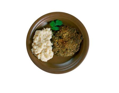 mash: Fasolica - mash beans  and pork chop. Moldovan cuisine