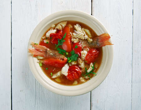 plates of food: Conch soup -  Jamaican Style,Whats Cooking America Stock Photo