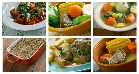 olla: Food set of differentset of different beef  meat  meat . collage