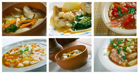 bahamian: Food set of different fish  soups. collage