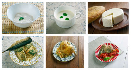 circassian: Food set oriental cuisine.collage Stock Photo