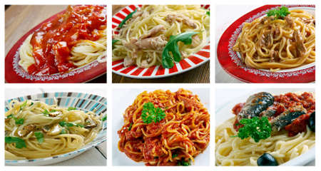 spaghetti dinner: Food set of different  Spaghetti  pasta. collage