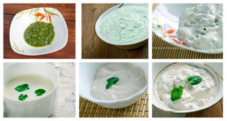 seer: Food set of different  Sauce  and spread . collage Stock Photo