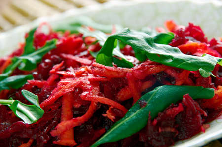 shredded: Shredded Beet  and Carrot Salad. cloce up