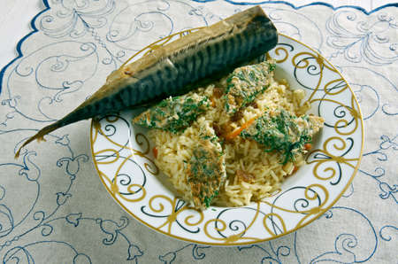 azeri: Azeri Pilaf with smoked fish and herb omelette -  Kuku plov