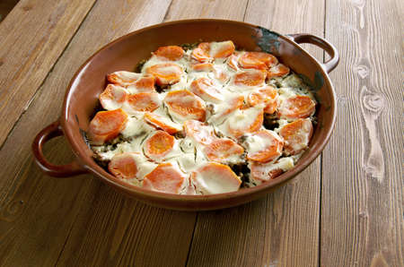 scalloped: Scalloped Carrots Casserole with minced meat and vegetables