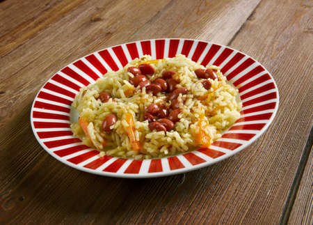 azeri: Bean pilaf with fish Chilov pilaf Stock Photo