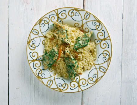 mea: Azeri Pilaf with smoked fish and herb omelette -  Kuku plov