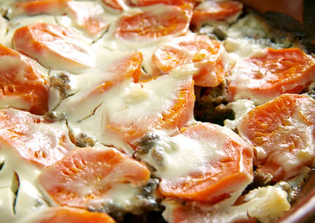minced meat: Scalloped Carrots Casserole with minced meat and vegetables