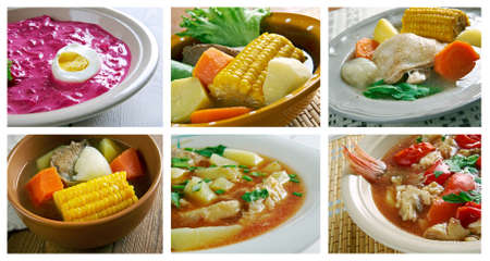 olla: Food set of different traditional soups. collage