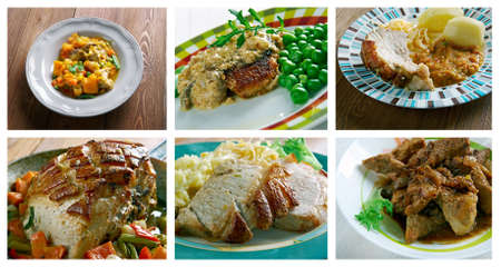 cerdo: Food set of different  pork  meat . collage Stock Photo