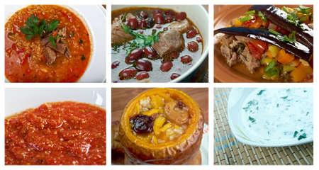 circassian: Food set caucasian  cuisine.collage Stock Photo