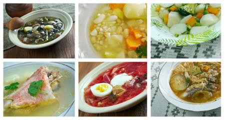 slavonic: Food set .Slavonic traditional  soup cuisine