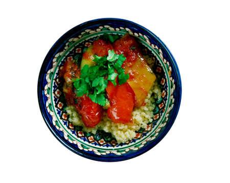 couscous: Mediterranean Vegetables CousCous. Maghreb dish Stock Photo