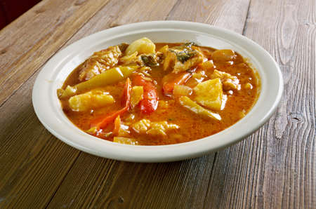 make conch soup --  Jamaican Style  chowder in Florida Stock Photo