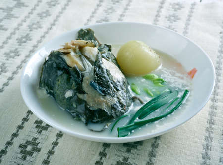 chowder: Catfish Corn Chowder - Spicy Soup with Catfish. Stock Photo