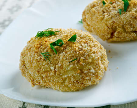 latin american: Papa rellena - stuffed potatoes.most popular type of croquettes in Peru and other Latin American countries such as Chile, Cuba, Colombia, Puerto Rico and the Caribbean Stock Photo