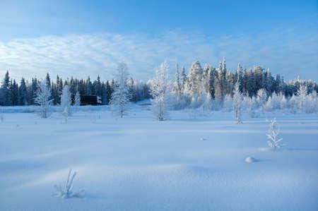 Winter landscape.truck on winter road