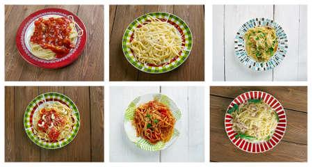olio: Food set of different spaghetti pasta. collage
