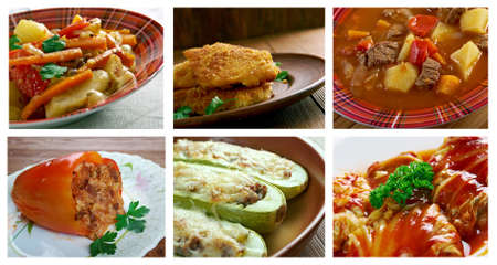 slavonic: Food set .Slavonic Balkan  traditional  cuisine