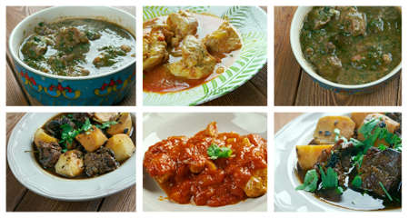 meat dish: Food set oriental Indian  cuisine.collage meat dish