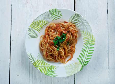 olio: Spaghetti alla chitarra egg pasta typical of Abruzzo, Italy.