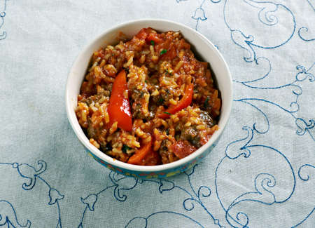 au: Riz au Gras - Fat Rice with Beef and  Carrots. Africa cuisine Stock Photo