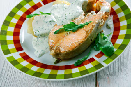 lax: Inkokt lax - Swedish cuisine. Poached salmon with vegetables Stock Photo