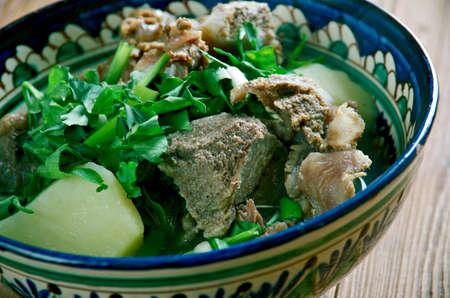 azerbaijani: bozartma  - Caucasian soup with lamb.Georgian, Azerbaijani cuisine Stock Photo