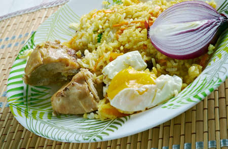 amazonas: Platos tipicos  de Amazonas . rice with chicken and egg Stock Photo