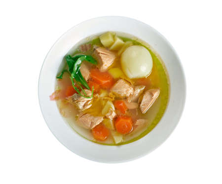 greek cuisine: Psarosoupa -  fish soup, traditional to Greek cuisine. Stock Photo