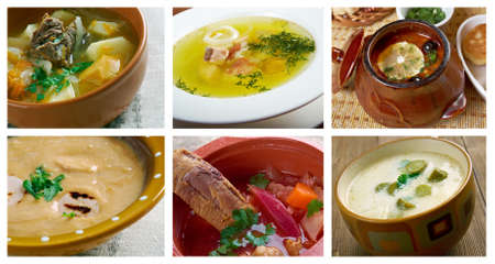 slavonic: Food set .Slavonic traditional  Soup.