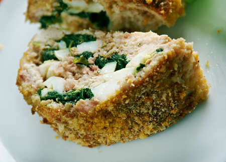 meatloaf: Hackbraten - meatloaf with spinach and cheese.German cuisine Stock Photo