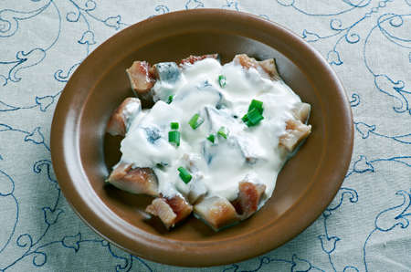 estonian: Estonian Sild koorega . herring in sour cream Baltic cuisine