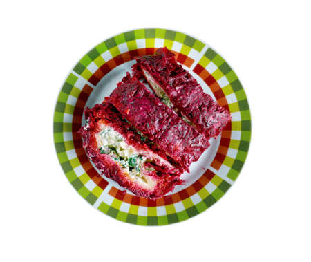 roulade: beet roulade with vegetables and feta cheese.