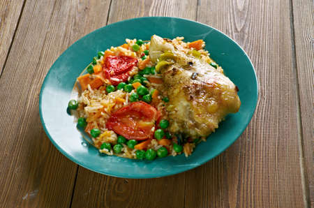latin america: Arroz con pollo a la mexicana - Chicken and rice dish from Latin America Stock Photo