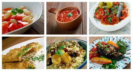 circassian: Food set caucasian  soup cuisine.collage Stock Photo