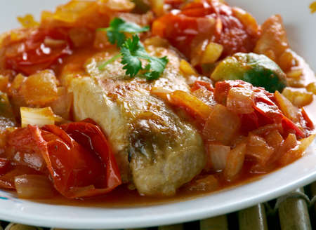 Basque  Roast Chicken. Espelette chili powder is a quintessential spice found in the Basque region of Spain Stock Photo