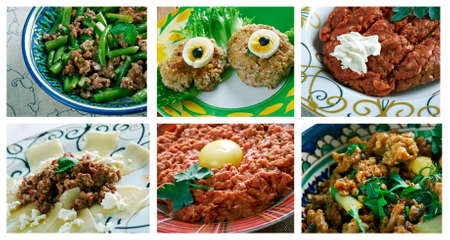 minced beef: Food set of different minced beef  meat . collage.