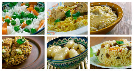bil: Food set of different rice  dish . collage