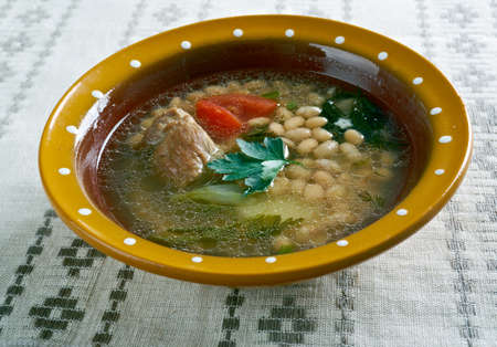 albanian: Albanian Bean Jahni Soup -  Albanian dish of bean soup. Stock Photo