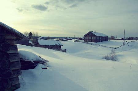 winter wood: Russian village.