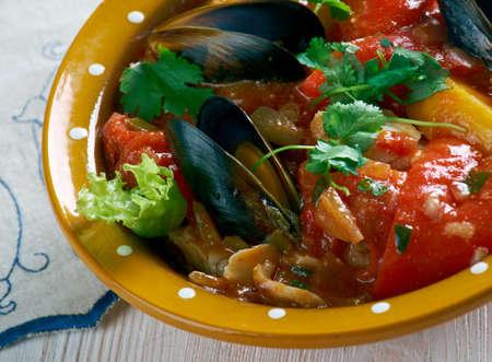 sopa: Paila marina -  traditional Chilean seafood soup . Stock Photo