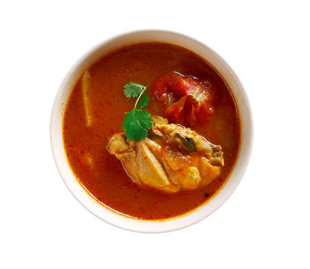 south indian: Chettinad Chicken Rasam - South Indian soup Stock Photo