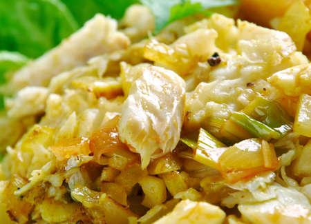 jamaican: Ackee and saltfish. traditional Jamaican dish.Jamaican cuisine.