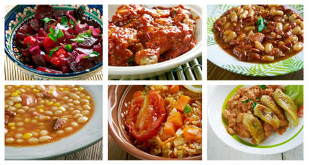 sopa: Food set African traditional cuisine.collage