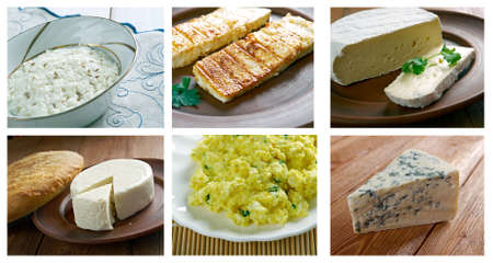 circassian: Food set of different   cheese . collage Stock Photo