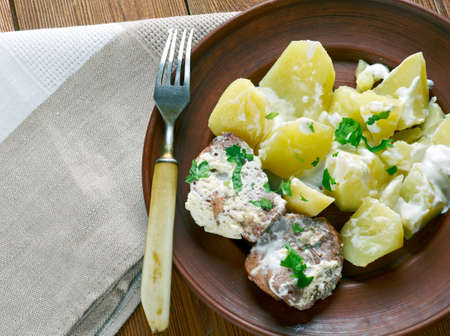 estonian: Killatuhlid -Estonian pork with potatoes Stock Photo