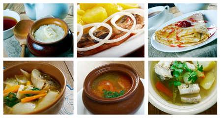 slavonic: Food set .Slavonic Russian traditional  cuisine